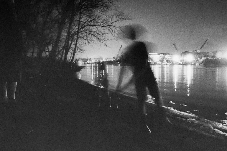 "Leah Andrascik, ""Boys at night, Ohio River"", 2021"