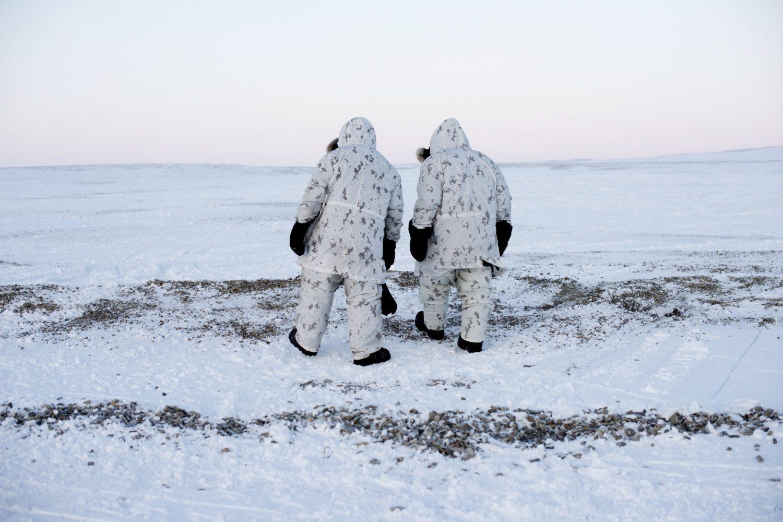 Canadian soldiers walkig North on Cornwallis Island -60 Celsius, Nunavut, Canada