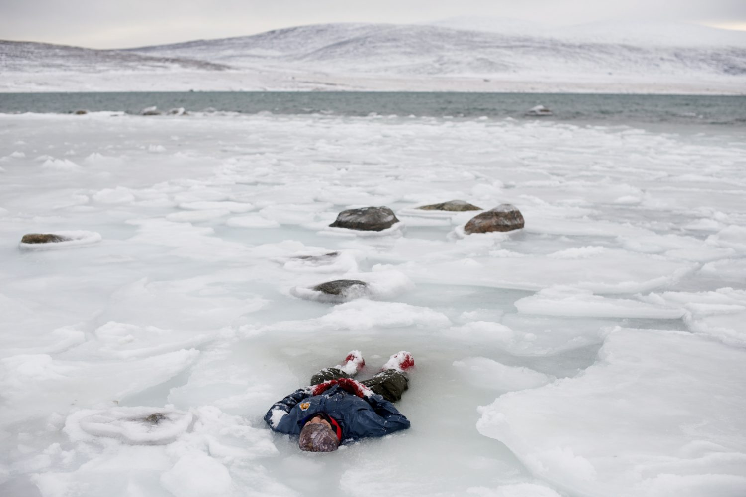 Canadian Ranger training for survival in the bay, Clyde River, Nunavut, Canada